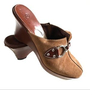 Cole Hann Tan Suede Clogs with buckles